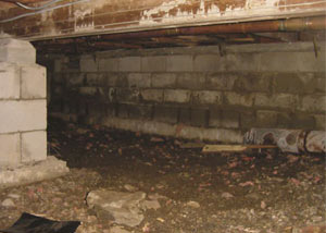 Rotting, decaying crawl space wood damaged over time in Katy